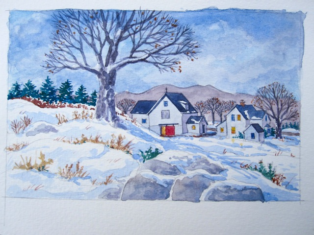 Winter Scene of Quebec Farmhouse.